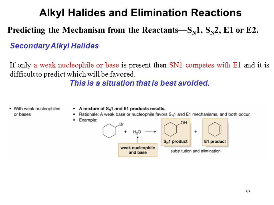 55 Predicting the Mechanism from the Reactants—S N 1, S N 2, E1 or E2. Alkyl Halides and Elimination Reactions Secondary Alkyl Halides If only a weak