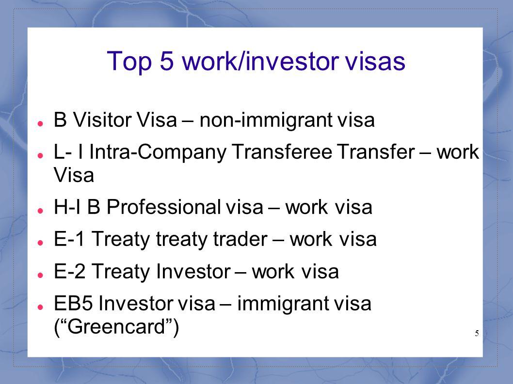 5 Top 5 work/investor visas B Visitor Visa – non-immigrant visa L- I Intra-Company Transferee Transfer – work Visa H-I B Professional visa – work visa E-1 Treaty treaty trader – work visa E-2 Treaty Investor – work visa EB5 Investor visa – immigrant visa ( Greencard )