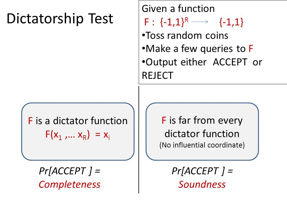 Dictatorship Test Given a function F : {-1,1} R {-1,1} Toss random coins Make a few queries to F Output either ACCEPT or REJECT F is a dictator function F(x 1,… x R ) = x i F is far from every dictator function (No influential coordinate) Pr[ACCEPT ] = Completeness Pr[ACCEPT ] = Soundness