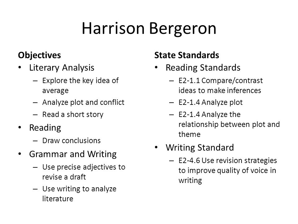 an overview of the minor literary analysis essay on the short story harrison beregeron For the short story and literary terms unit will be to write a literary analysis essay on one of the stories we that examines the theme of one of the following stories: the scarlet ibis, marigolds, harrison bergeron documents similar to short story literary analysis essay skip carousel.
