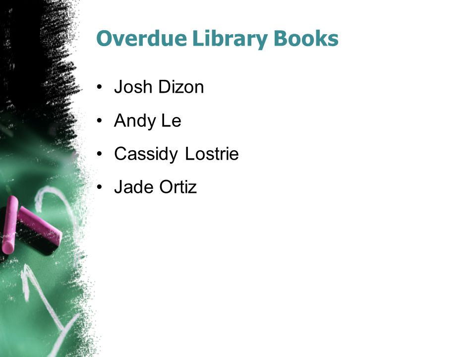 Overdue Library Books Deric Abril Justin Difuntorum Huynh Le Jeremiah Oliva Lenny Ramirez Arjun Sadiura Myron Washington