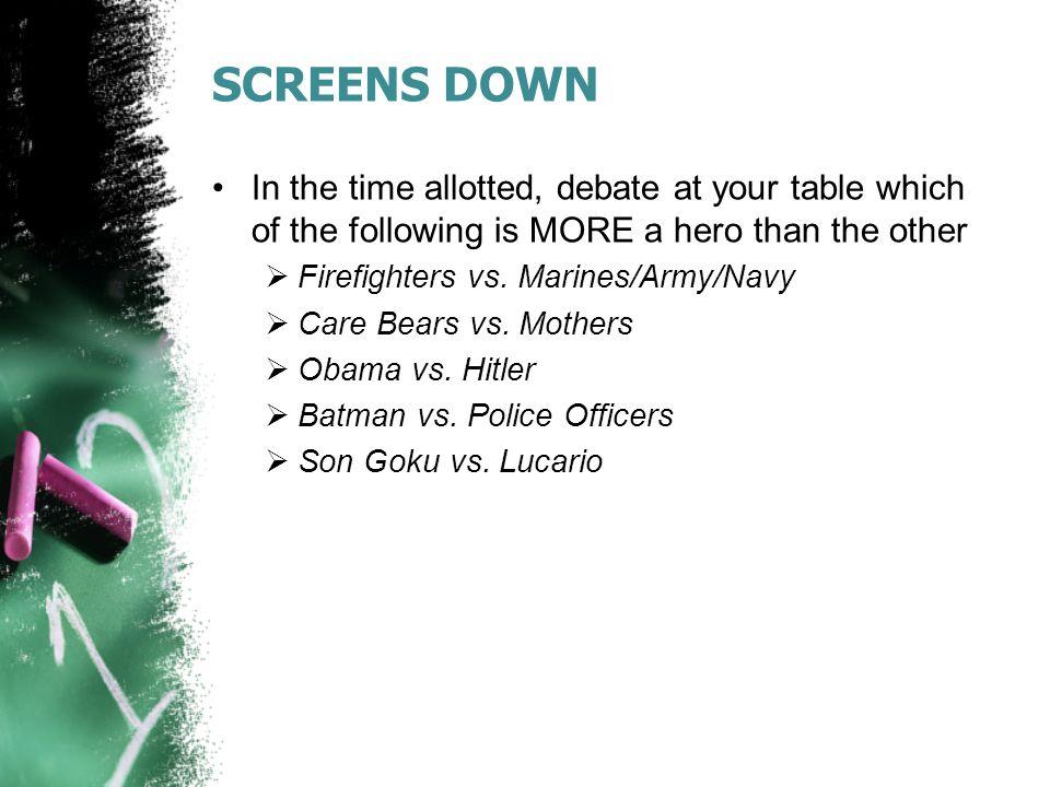 Agenda: 4/10/14 Warmup Real Heroes