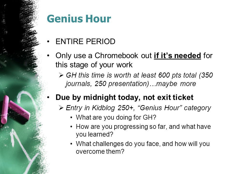 Agenda: 4/11/14 Warmup Genius Hour