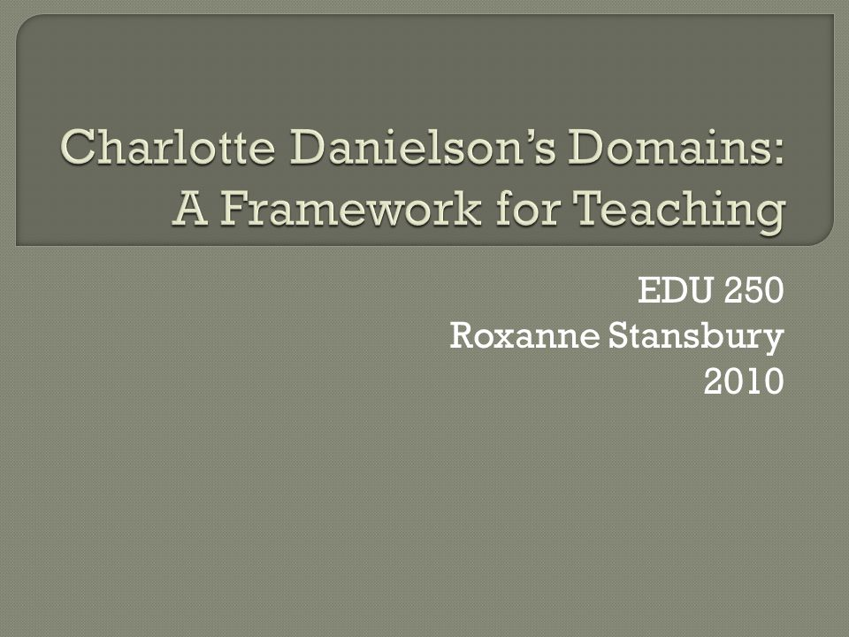  It is important to learn about Danielson's Domains because they are the framework for how we measure effective teaching.