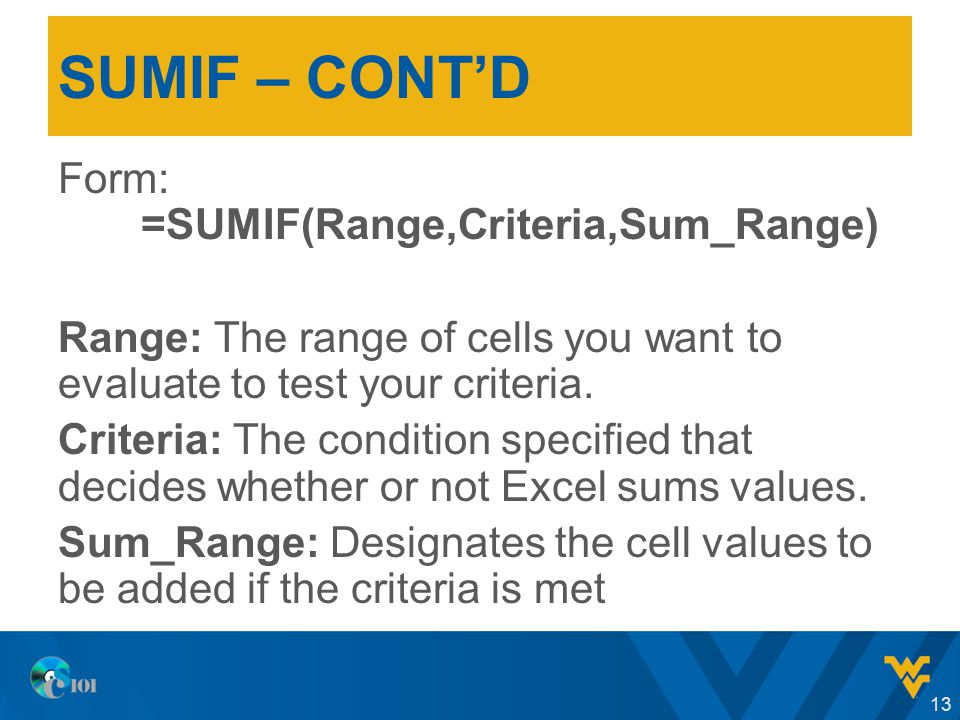 SUMIF – CONT'D Form: =SUMIF(Range,Criteria,Sum_Range) Range: The range of cells you want to evaluate to test your criteria.