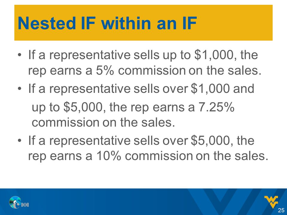 Nested IF within an IF If a representative sells up to $1,000, the rep earns a 5% commission on the sales.