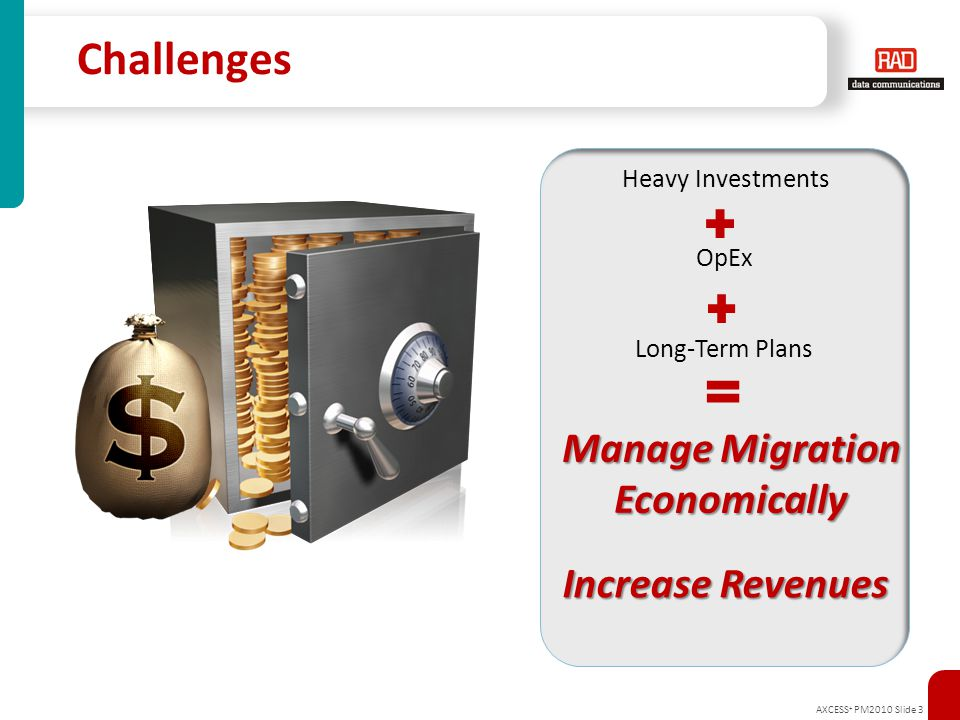 AXCESS + PM2010 Slide 4 Challenges: Carriers and Service Providers Manage Migration Economically  Eliminate CapEx hikes related to increase in number of network devices  Avoid over-burdening network operations and management due to TDM/PSN transport co- existence  Reconcile required investment in SDH/SONET equipment with decommissioning plans  Minimize risk of customer churn when replacing legacy services with IP/Ethernet Increase Customer Base Economically  Extend service reach over diverse First Mile connections
