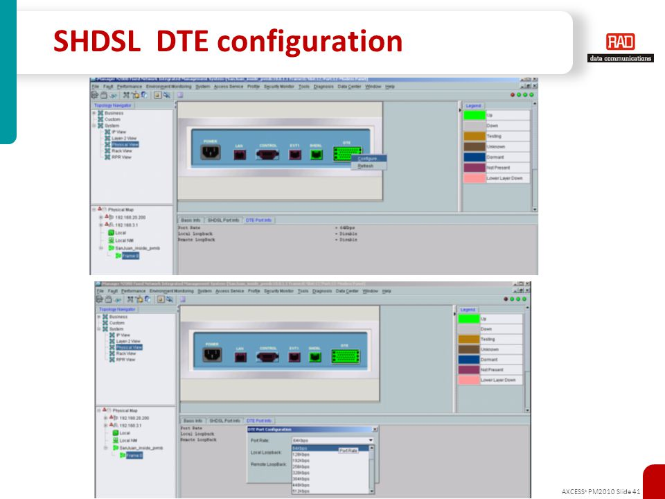 AXCESS + PM2010 Slide 41 SHDSL DTE configuration