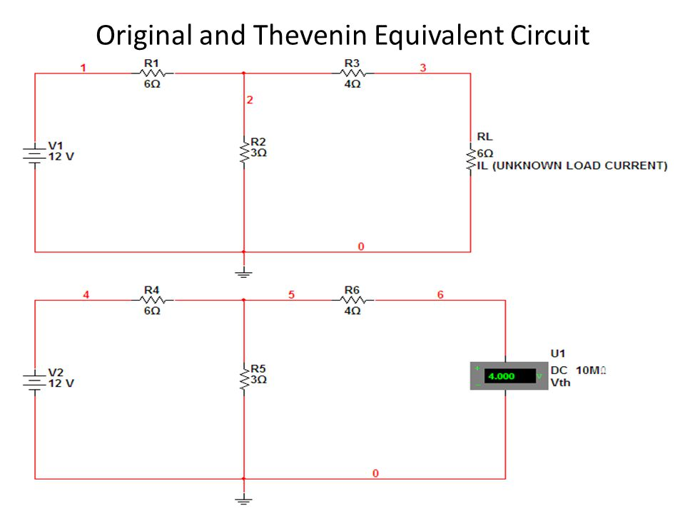 Original and Thevenin Equivalent Circuit