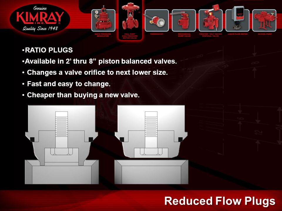 """RATIO PLUGS Available in 2' thru 8"""" piston balanced valves. Changes a valve orifice to next lower size. Fast and easy to change. Cheaper than buying a"""