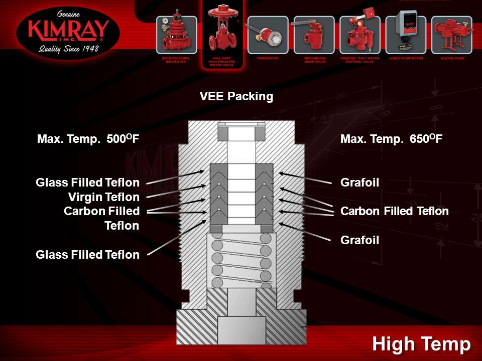 VEE Packing Max. Temp. 500 O F Glass Filled Teflon Virgin Teflon Carbon Filled Teflon Glass Filled Teflon Max. Temp. 650 O F Grafoil Carbon Filled Tef