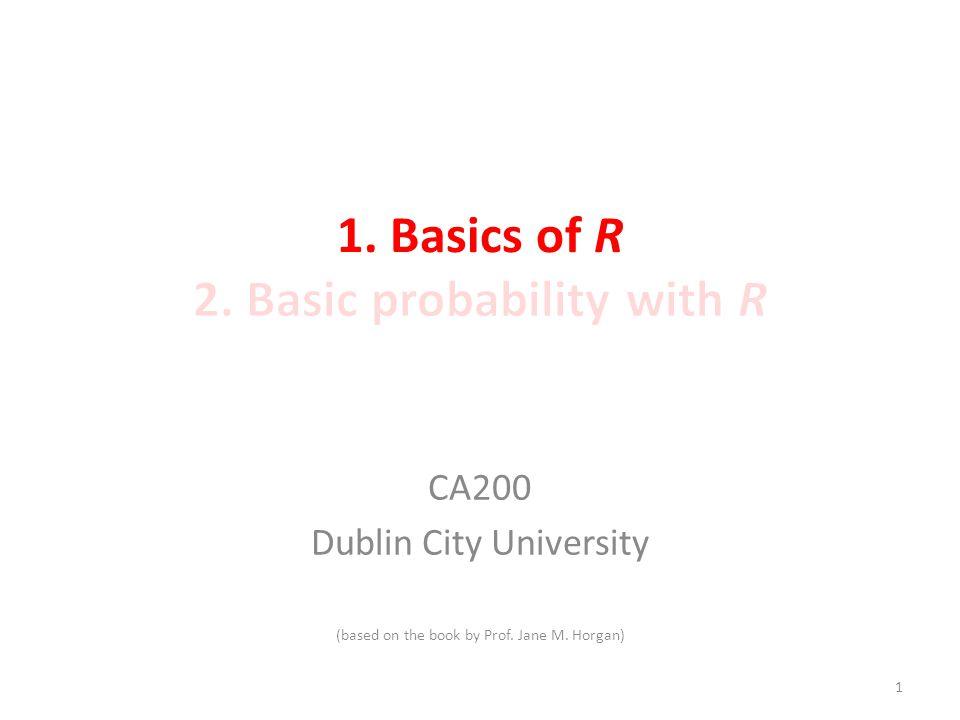 CA200 Dublin City University (based on the book by Prof. Jane M. Horgan) 1