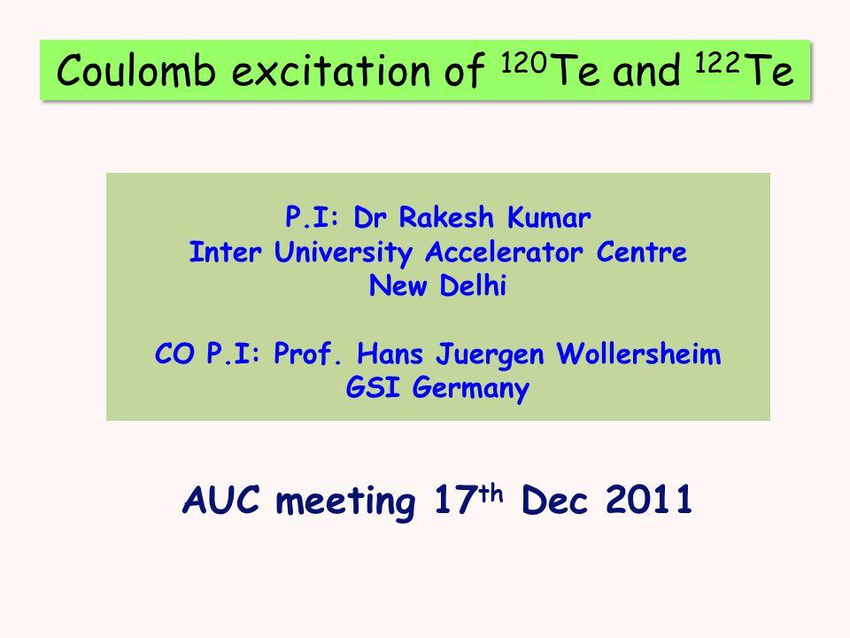 P.I: Dr Rakesh Kumar Inter University Accelerator Centre New Delhi CO P.I: Prof.