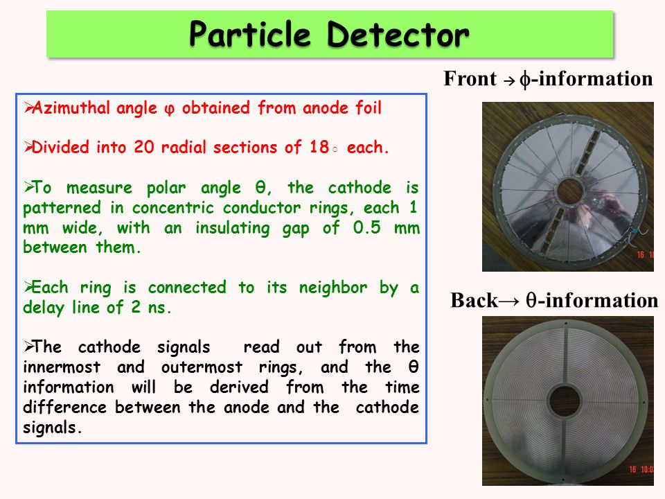 Front →  -information Back→  -information  Azimuthal angle φ obtained from anode foil  Divided into 20 radial sections of 18◦ each.