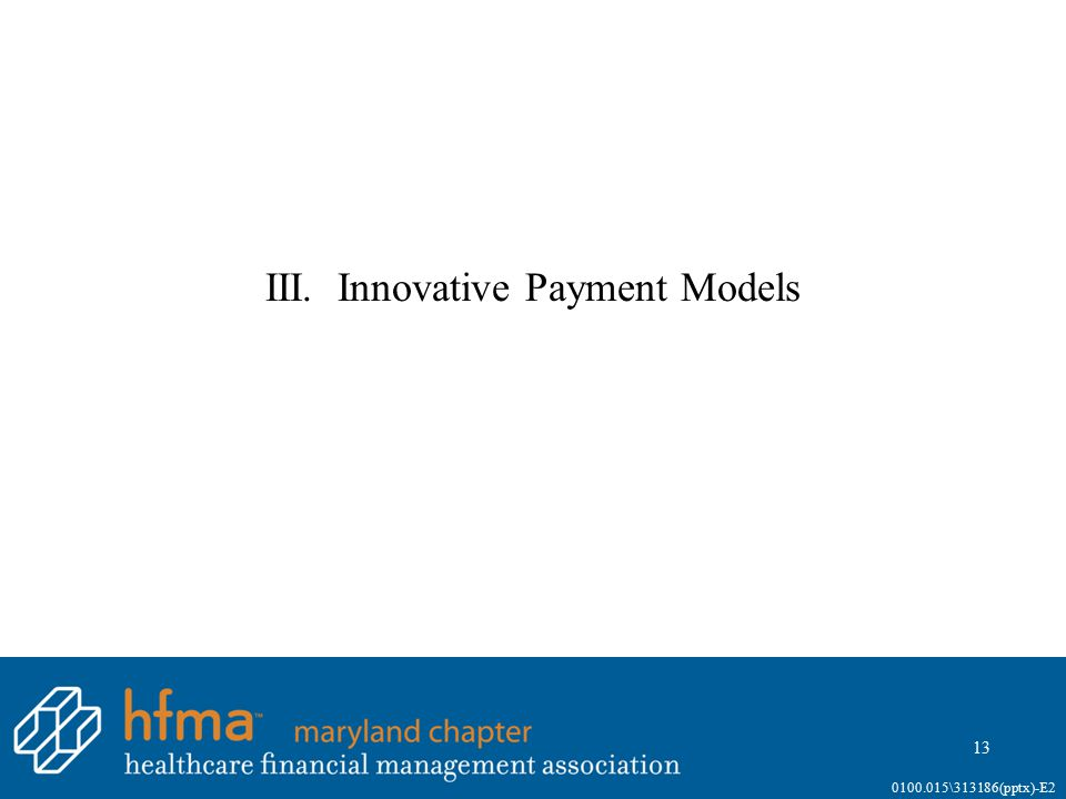 III. Innovative Payment Models 13 0100.015\313186(pptx)-E2