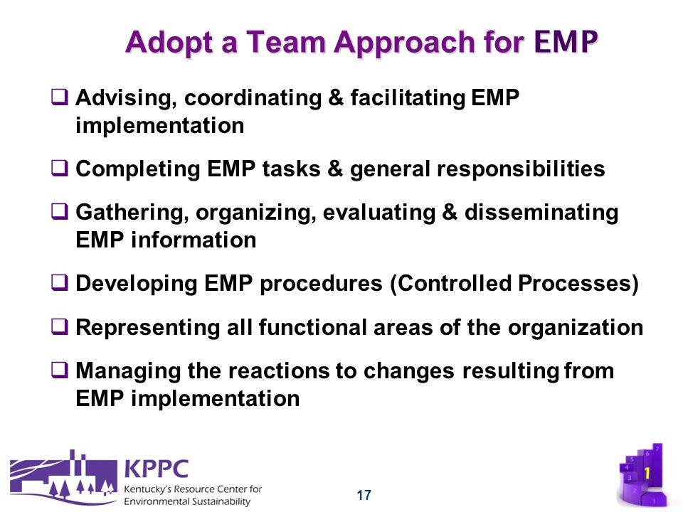 17 Adopt a Team Approach for EMP  Advising, coordinating & facilitating EMP implementation  Completing EMP tasks & general responsibilities  Gather