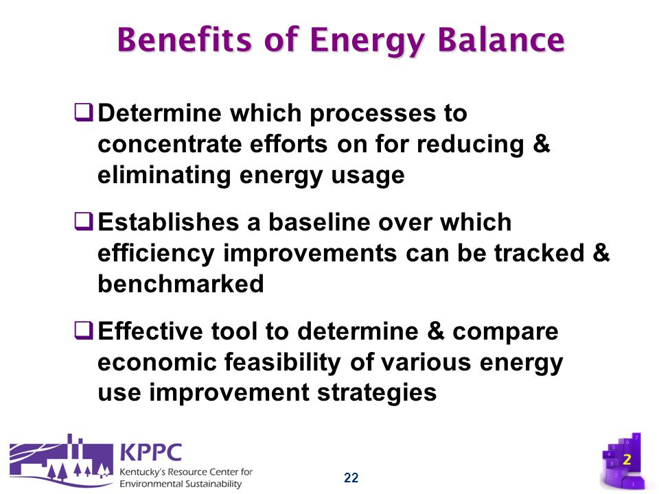22 Benefits of Energy Balance  Determine which processes to concentrate efforts on for reducing & eliminating energy usage  Establishes a baseline o