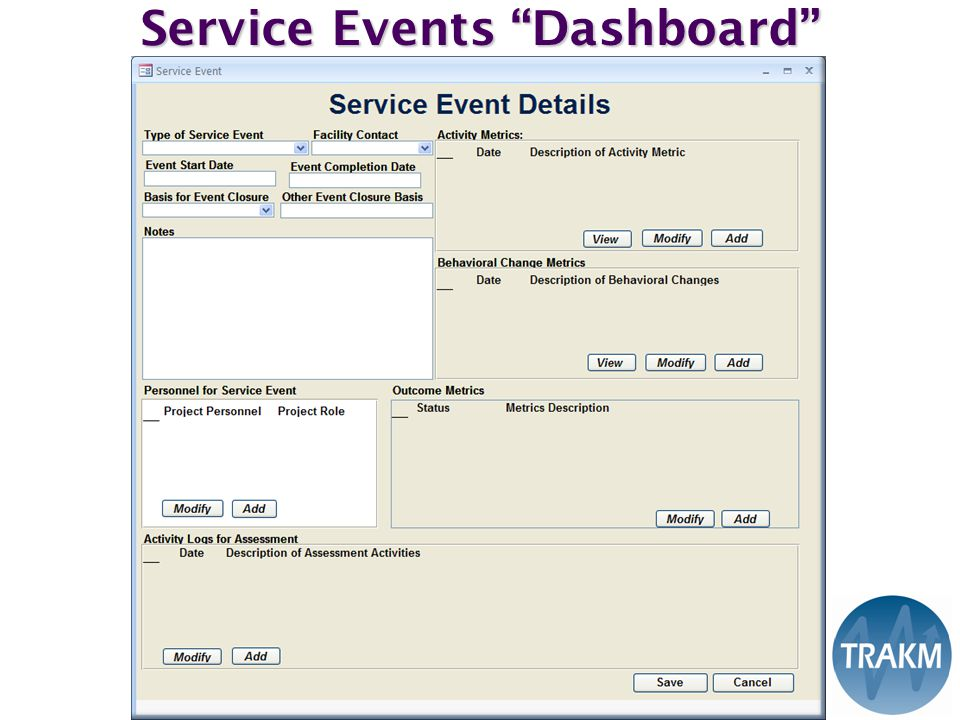 Service Events Dashboard