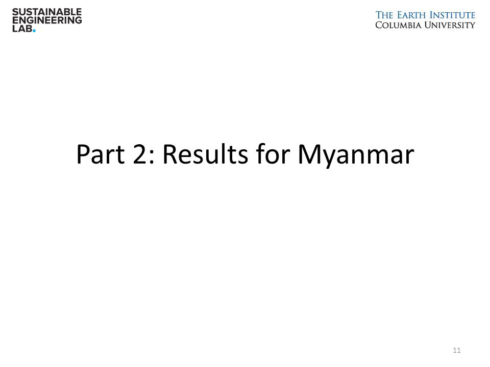 Part 2: Results for Myanmar 11