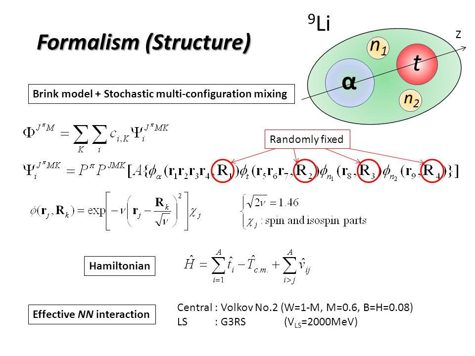 α n1n1 t n2n2 9 Li Brink model + Stochastic multi-configuration mixing Hamiltonian Central : Volkov No.2 (W=1-M, M=0.6, B=H=0.08) LS : G3RS (V LS =200
