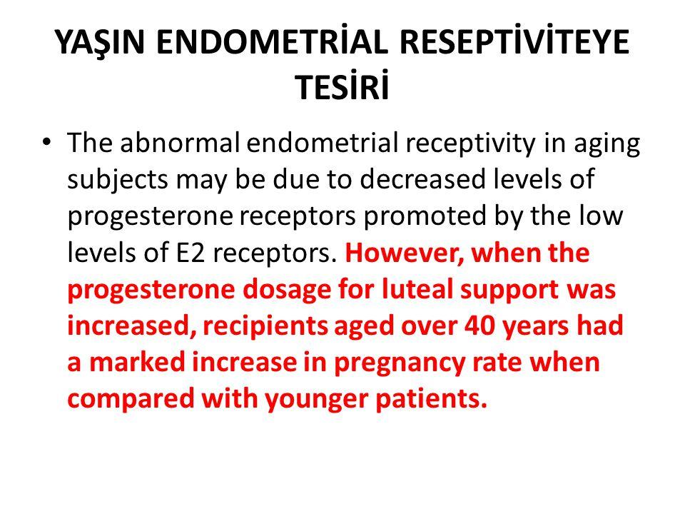 YAŞIN ENDOMETRİAL RESEPTİVİTEYE TESİRİ The abnormal endometrial receptivity in aging subjects may be due to decreased levels of progesterone receptors