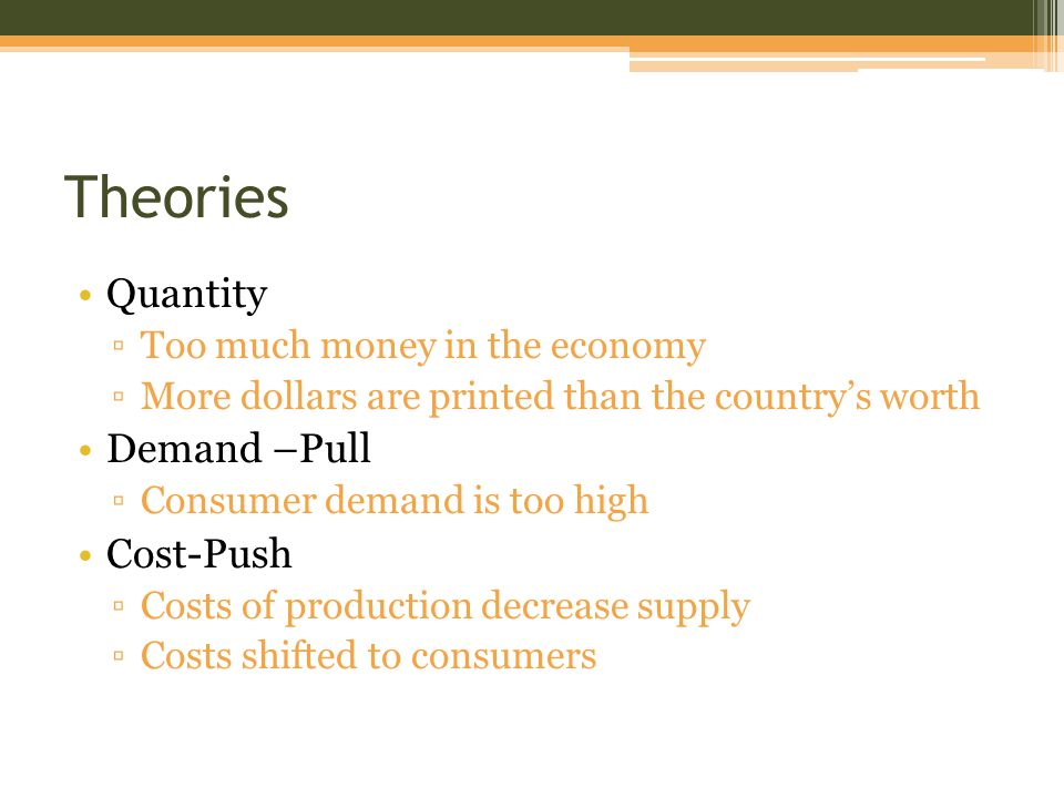 Theories Quantity ▫Too much money in the economy ▫More dollars are printed than the country's worth Demand –Pull ▫Consumer demand is too high Cost-Push ▫Costs of production decrease supply ▫Costs shifted to consumers