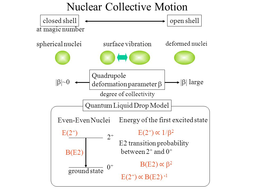 Nuclear Collective Motion deformed nuclei surface vibrationspherical nuclei closed shellopen shell Quadrupole deformation parameter   ~0  large degree of collectivity B(E2) ∝  2 0+0+ 2+2+ Even-Even Nuclei Quantum Liquid Drop Model E(2 + ) ∝ 1/  2 Energy of the first excited state E2 transition probability between 2 + and 0 + ground state E(2 + ) B(E2) at magic number E(2 + ) ∝ B(E2) -1