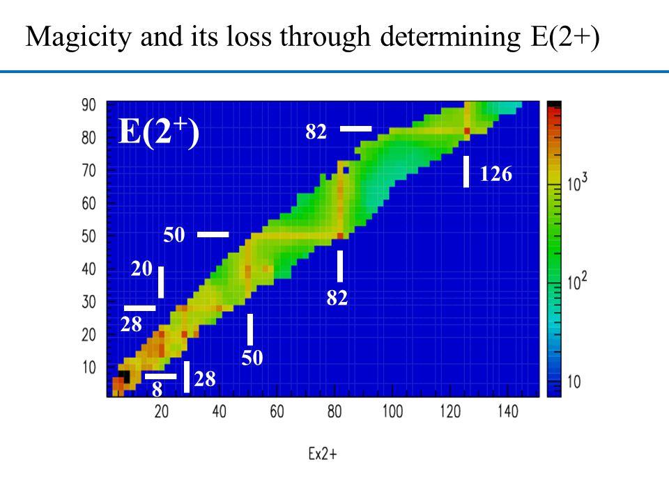 E(2 + ) Magicity and its loss through determining E(2+) 8 28 20 28 50 82 50 126