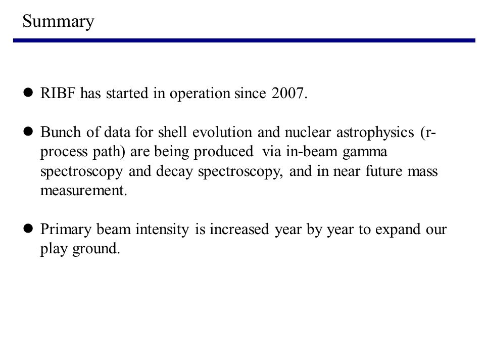 Summary RIBF has started in operation since 2007.