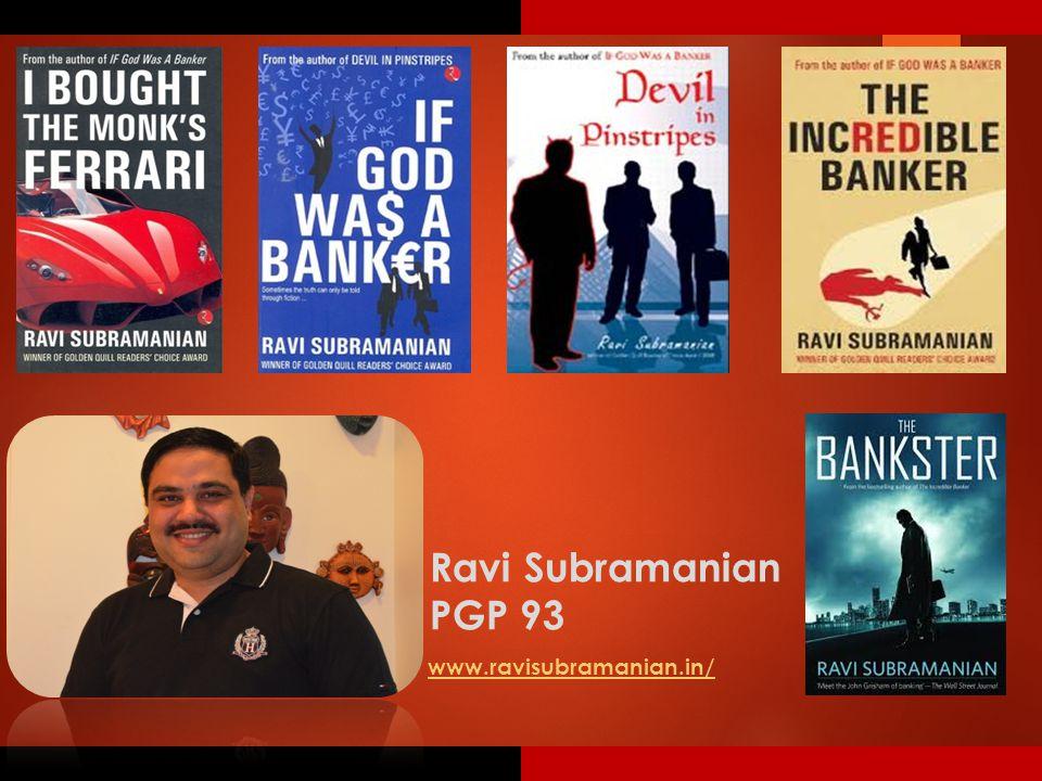 Ravi Subramanian PGP 93 www.ravisubramanian.in/