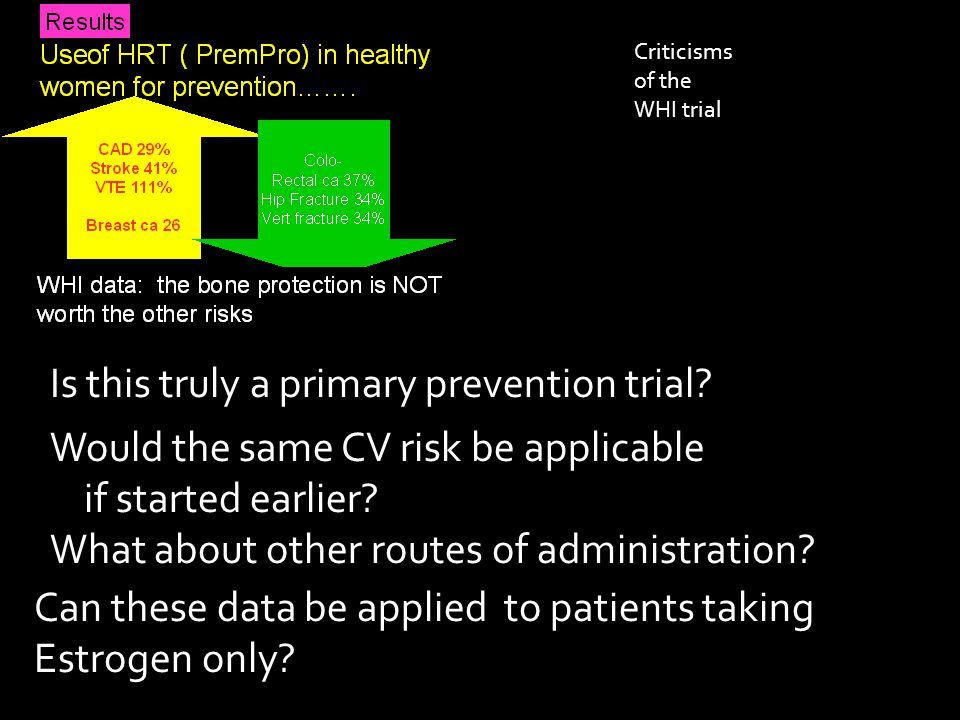 Criticisms of the WHI trial Is this truly a primary prevention trial.