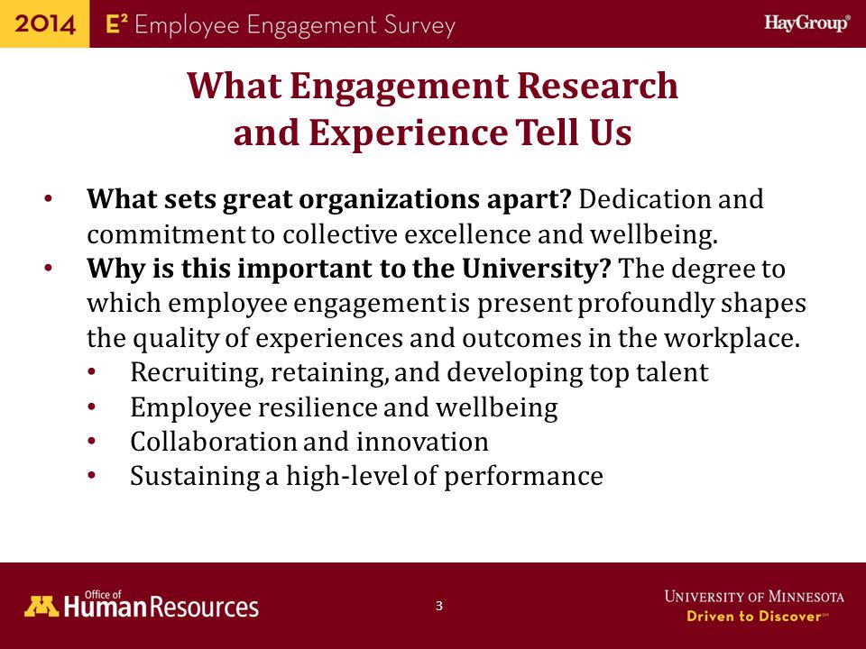 Human Resources Office of 5 The University's Engagement Strategy 2 Goal: Support campuses, colleges, and departments/units address local workplace factors that support engagement and enable excellence in research, teaching, and service Developed: In consultation with deans, chancellors, vice- presidents, faculty and staff leaders, governance groups and a faculty advisory committee Combines validated items from Hay Group and customized items created by the E 2 Faculty Advisory Committee Aligned with U of M published research on drivers of research- productive facilities (Bland, Weber-Main, Lund, & Finstad, 2005)Bland, Weber-Main, Lund, & Finstad, 2005
