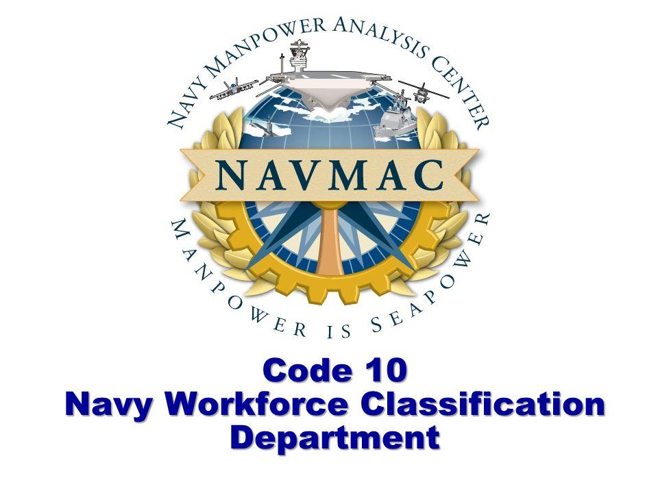 Code 10 Navy Workforce Classification Department