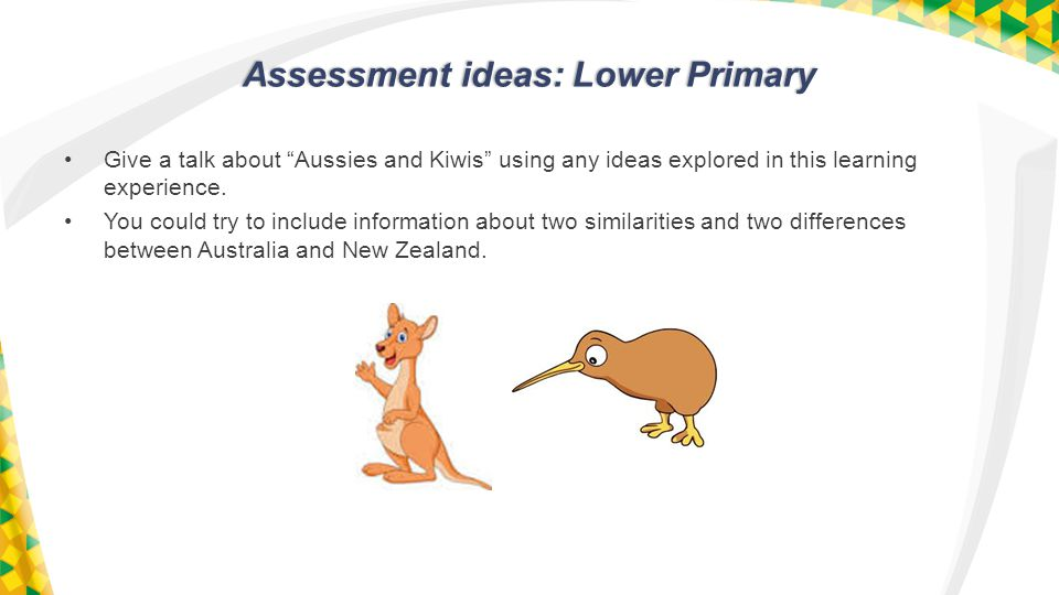 Assessment ideas: Lower Primary Give a talk about Aussies and Kiwis using any ideas explored in this learning experience.