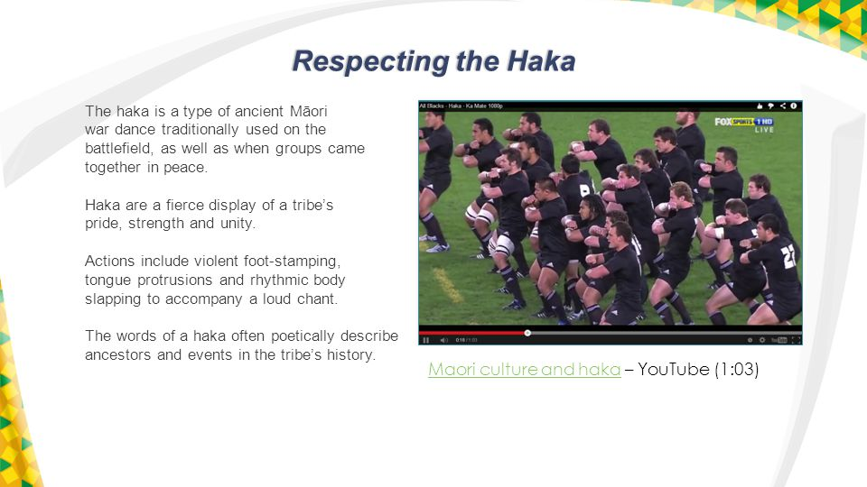 Respecting the Haka Maori culture and hakaMaori culture and haka – YouTube (1:03) The haka is a type of ancient Māori war dance traditionally used on the battlefield, as well as when groups came together in peace.