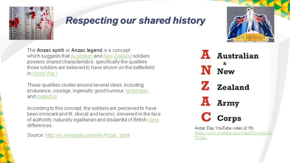 Respecting our shared history Respecting our shared history The Anzac spirit or Anzac legend is a concept which suggests that Australian and New Zealand soldiersAustralianNew Zealand possess shared characteristics, specifically the qualities those soldiers are believed to have shown on the battlefield in World War I.World War I These qualities cluster around several ideas, including endurance, courage, ingenuity, good humour, larrikinism,larrikinism and mateship.mateship According to this concept, the soldiers are perceived to have been innocent and fit, stoical and laconic, irreverent in the face of authority, naturally egalitarian and disdainful of British class class differences.