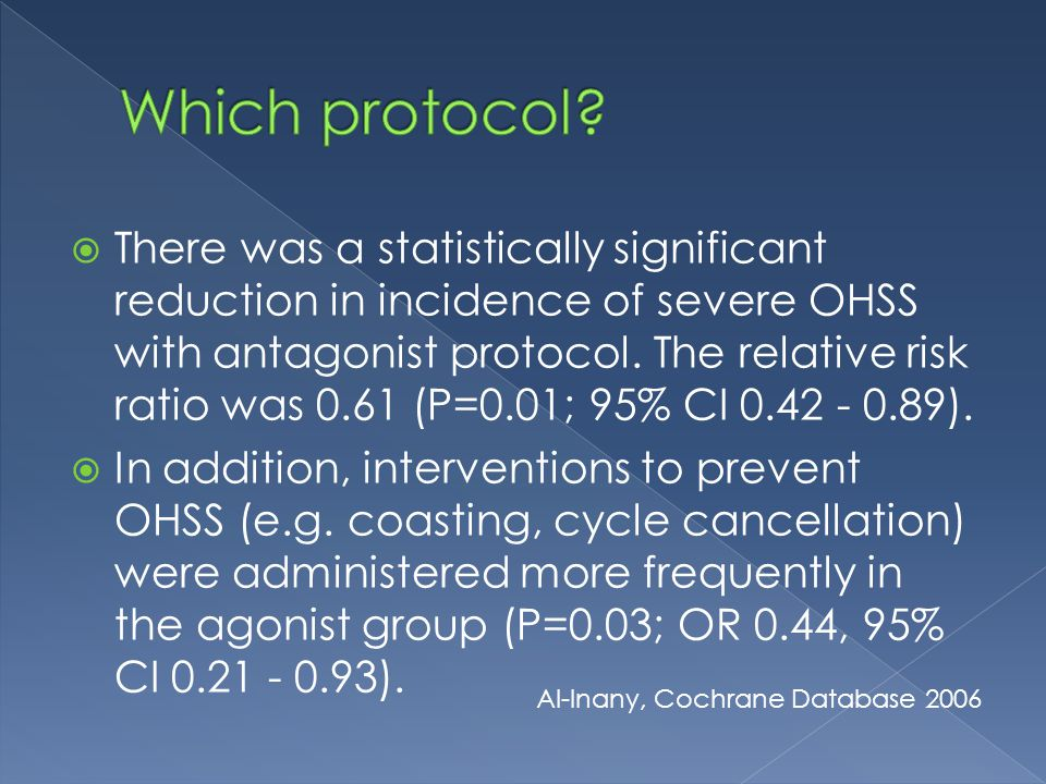  There was a statistically significant reduction in incidence of severe OHSS with antagonist protocol.