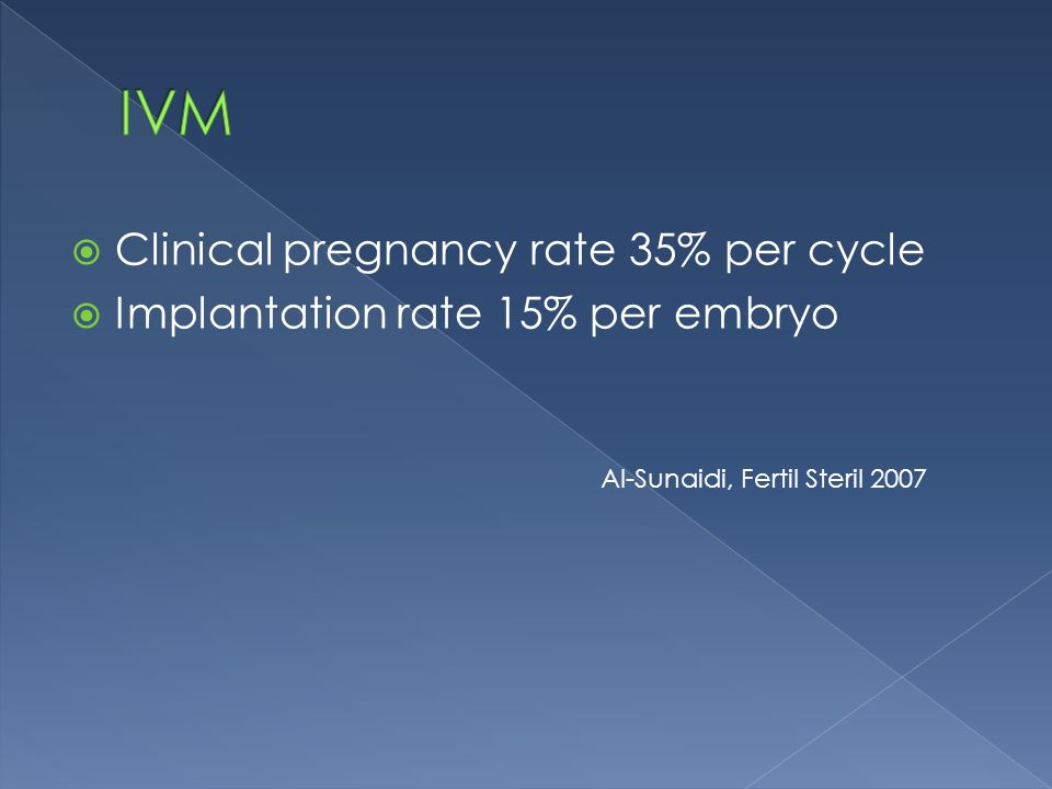  Clinical pregnancy rate 35% per cycle  Implantation rate 15% per embryo Al-Sunaidi, Fertil Steril 2007
