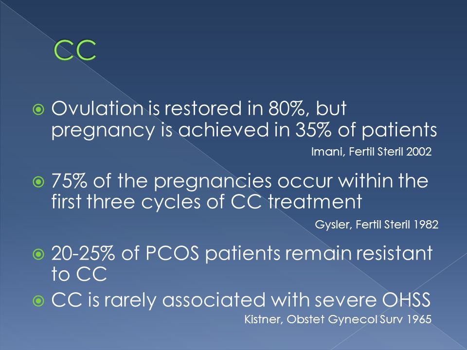  Ovulation is restored in 80%, but pregnancy is achieved in 35% of patients  75% of the pregnancies occur within the first three cycles of CC treatment  20-25% of PCOS patients remain resistant to CC  CC is rarely associated with severe OHSS Imani, Fertil Steril 2002 Gysler, Fertil Steril 1982 Kistner, Obstet Gynecol Surv 1965