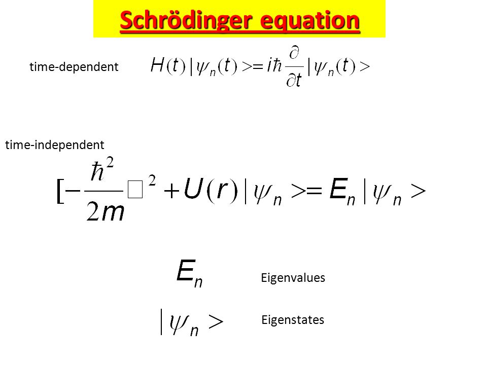 Schrödinger equation time-dependent time-independent Eigenvalues Eigenstates