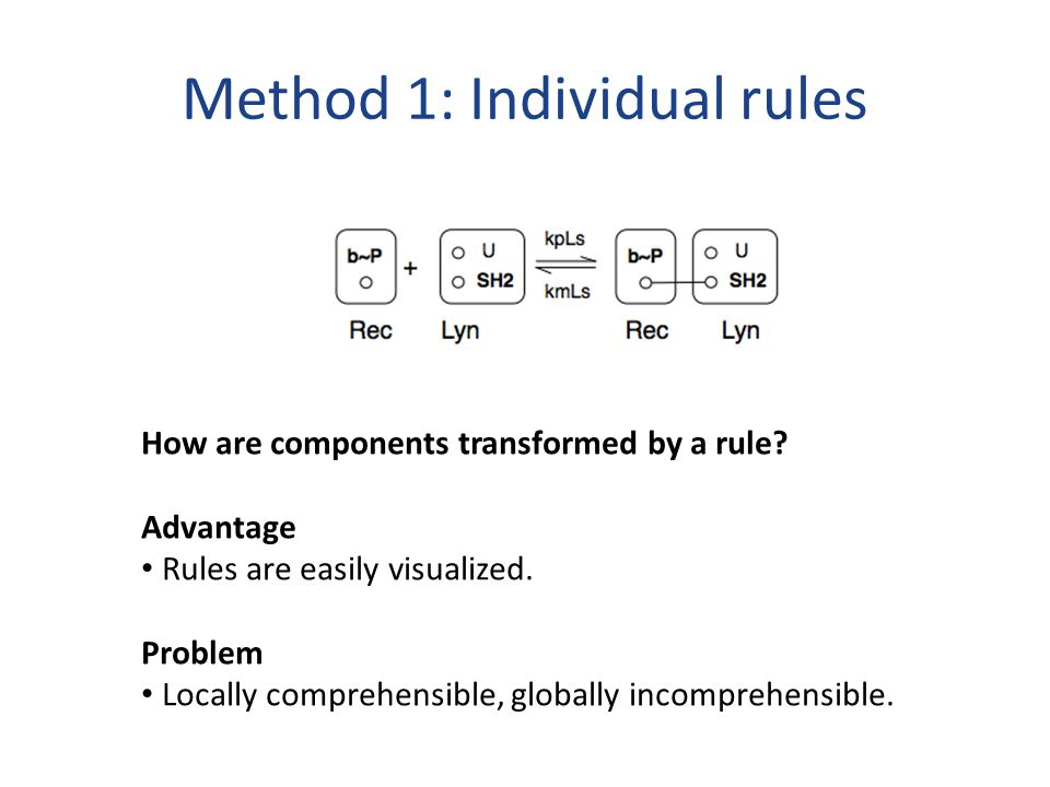 Method 1: Individual rules How are components transformed by a rule.