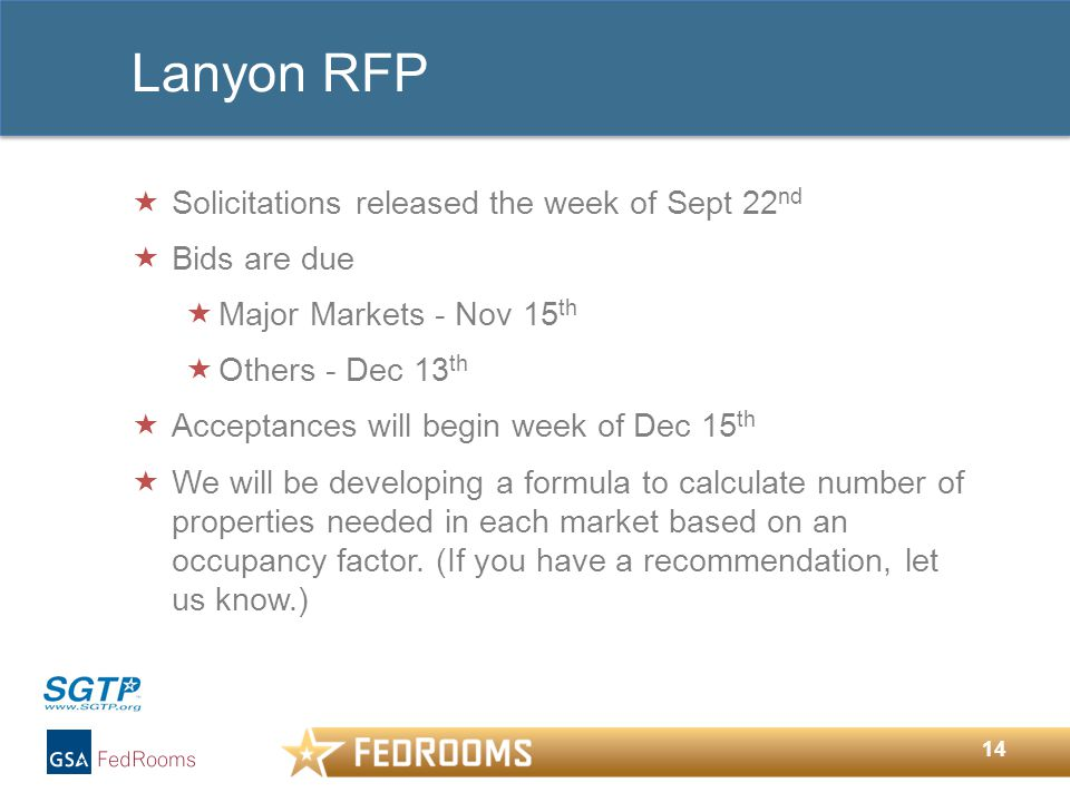14 Lanyon RFP  Solicitations released the week of Sept 22 nd  Bids are due  Major Markets - Nov 15 th  Others - Dec 13 th  Acceptances will begin week of Dec 15 th  We will be developing a formula to calculate number of properties needed in each market based on an occupancy factor.