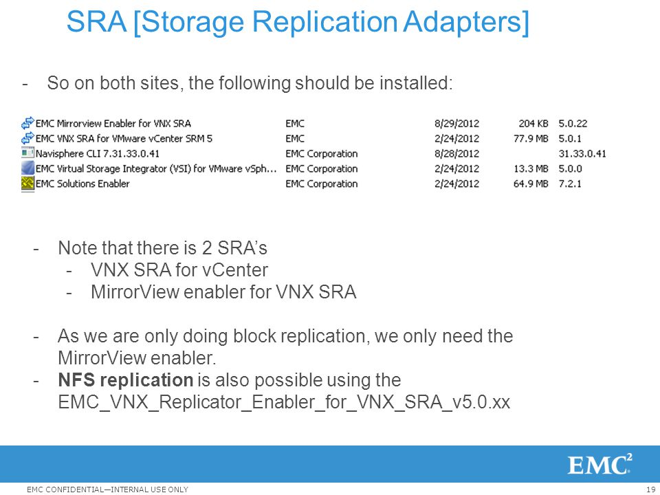 19EMC CONFIDENTIAL—INTERNAL USE ONLY SRA [Storage Replication Adapters] -So on both sites, the following should be installed: -Note that there is 2 SR