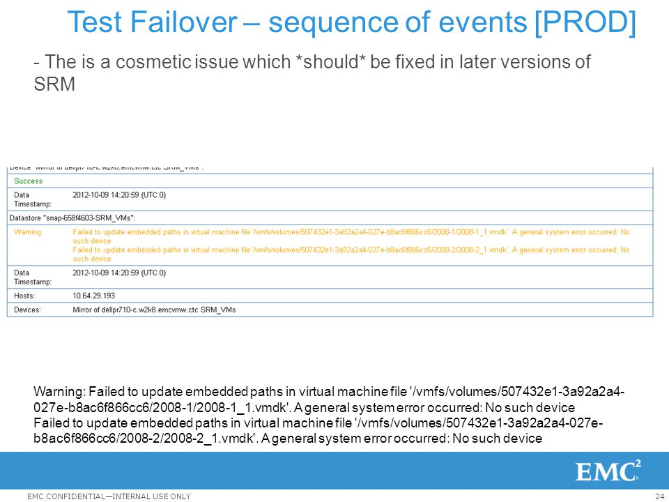 24EMC CONFIDENTIAL—INTERNAL USE ONLY Test Failover – sequence of events [PROD] - The is a cosmetic issue which *should* be fixed in later versions of