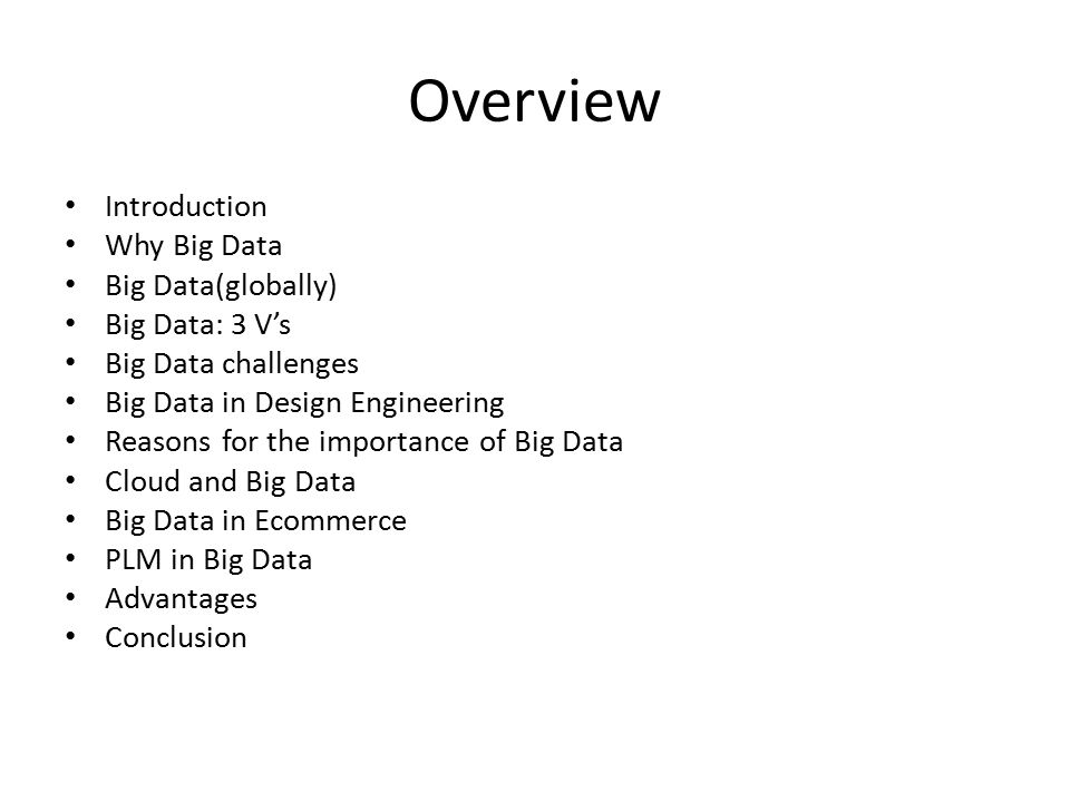 INTRODUCTION Big data is the term for a collection of data sets so large and complex that it becomes difficult to process using on-hand database management tools or traditional data processing applications.