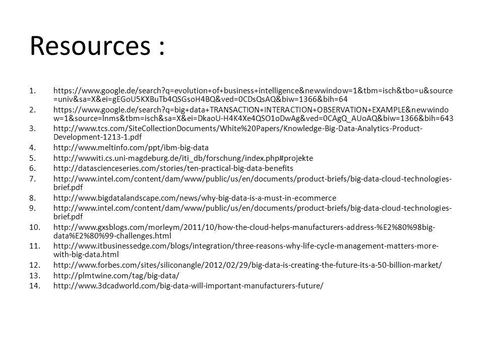 Resources : 1.https://www.google.de/search?q=evolution+of+business+intelligence&newwindow=1&tbm=isch&tbo=u&source =univ&sa=X&ei=gEGoU5KXBuTb4QSGsoH4BQ