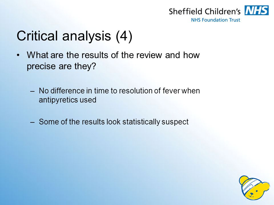 Critical analysis (4) What are the results of the review and how precise are they.