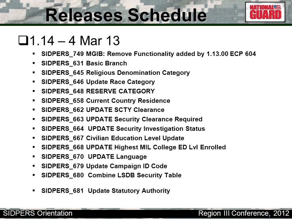 SIDPERS Orientation Region III Conference, 2012 Releases Schedule  1.15 – 9 Apr 13  SIDPERS_691 Suspension of Favorable Action  SIDPERS_714 EERF Validation of Date END EVAL Period  SIDPERS_716 Check MPC of Soldier against MILED LVL ENRL & COMP  SIDPERS_718 Correct Transfer (TRF) Mnemonic Function  SIDPERS_720 LOADAFPFT Proc Fix & Validation of APFT Dates  SIDPERS_732 UPDATE Current Organization ID code table  SIDPERS_737 Correct Entry of Mandatory Removal Date