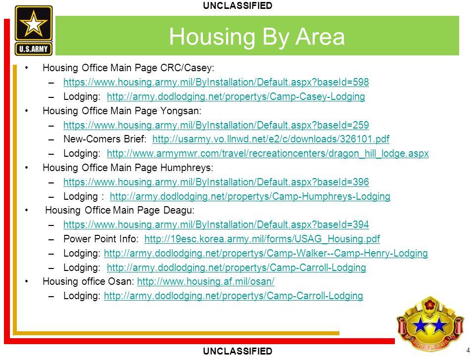4 UNCLASSIFIED Housing By Area Housing Office Main Page CRC/Casey: –https://www.housing.army.mil/ByInstallation/Default.aspx?baseId=598https://www.hou