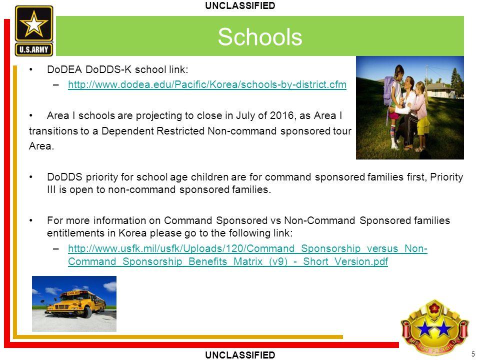 5 UNCLASSIFIED Schools DoDEA DoDDS-K school link: –http://www.dodea.edu/Pacific/Korea/schools-by-district.cfmhttp://www.dodea.edu/Pacific/Korea/school